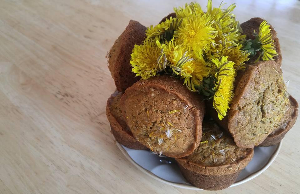 Dandelion Flower Bran Muffins
