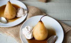 Vanilla Poached Pears With Yogurt Cheese