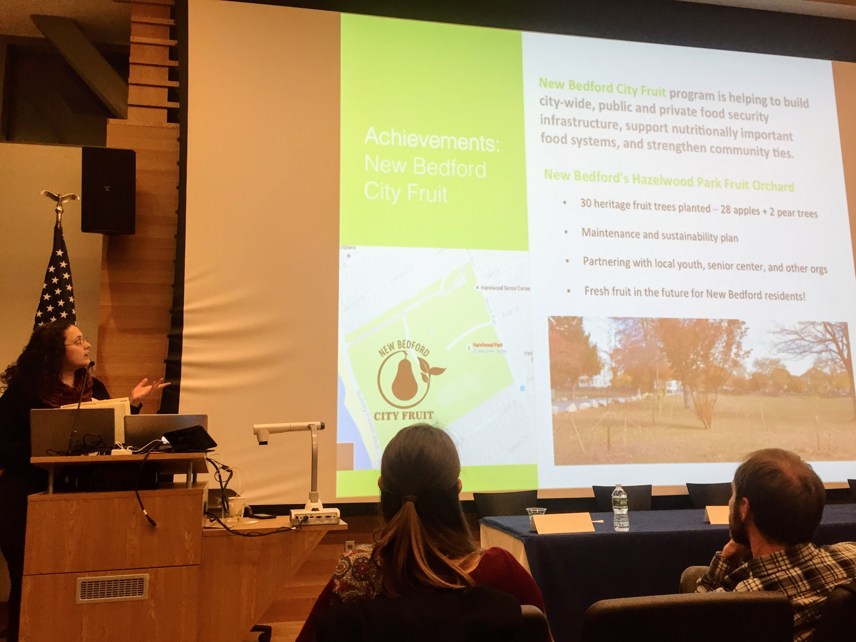 New Bedford City Friut's Joyce Bettencourt talked about the many ways her program is making fresh fruit more accessible, including the planting of dozens apple and pear trees in Hazelwood Park.