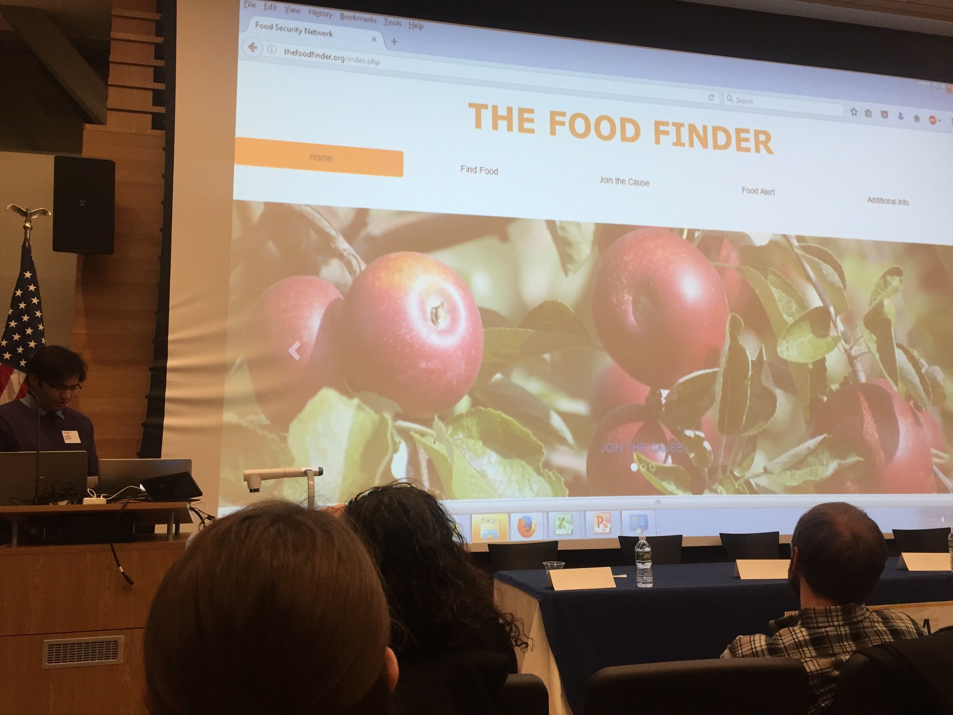 Charlton College of Business Graduate Assistant and MBA student Shaktisingh Rijput presents The Food Finder, an application he has developed in collaboration with MIS students Bryan Gwozdz and Reid Mello and Associate Professor Timothy Shea.